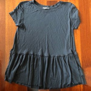 UO Truly Madly Deeply Dark Gray Short Sleeve Tunic